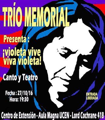 SANTIAGO: TRÍO MEMORIAL PRESENTA:  VIOLETA VIVE, VIVA VIOLETA!