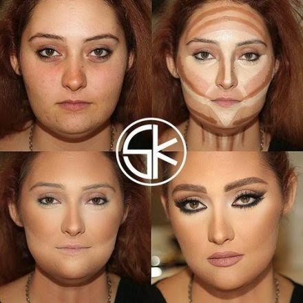 Une femme ronde se maquille pour un différent visage.
