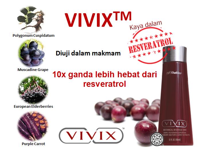 Vivix™ Minuman campuran botani merupakan revolusi terbaru di dalam pemakanan polifenol.  Vivix ™ mengandungi campuran unik botani Polygonum Cuspidatum, Anggur Muscadine, Elderberi Eropah dan Lobak Ungu yang kaya dengan polifenol. Polifenol adalah kumpulan fitokimia yang terdiri daripada sebatian tanaman yang mengandungi khasiat antioksidan dan sel anti-penuaan semulajadi.