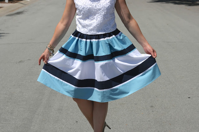 eShakti_striped_midi_skirt