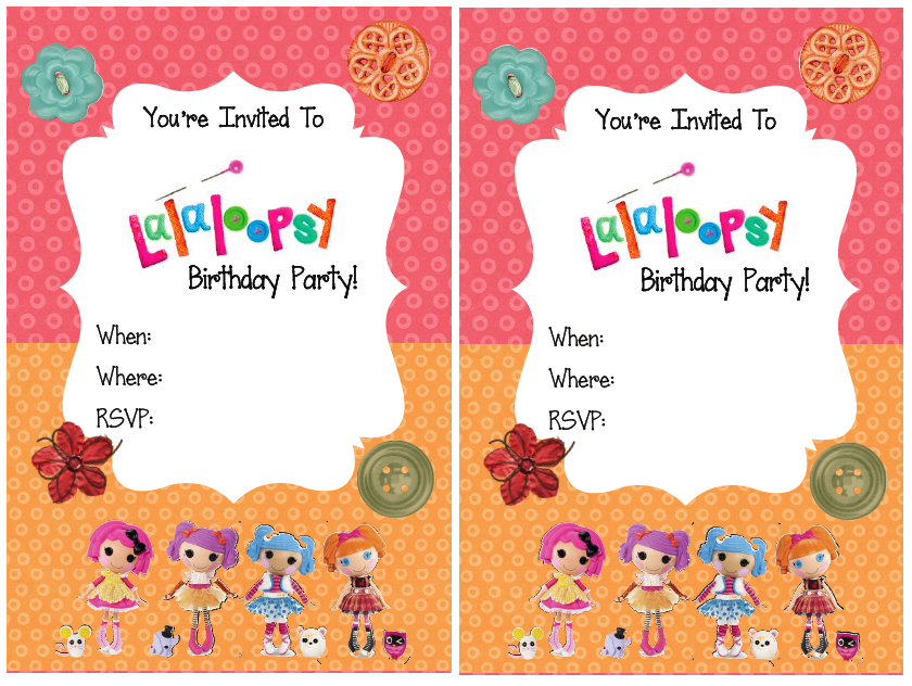 FREE PRINTABLE: Lalaloopsy Party Invitations