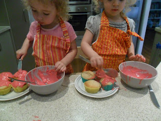 Icing the cupcakes