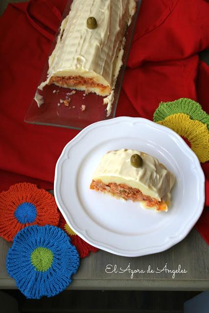 Pastel frío de patata y bonito,pastel de patata