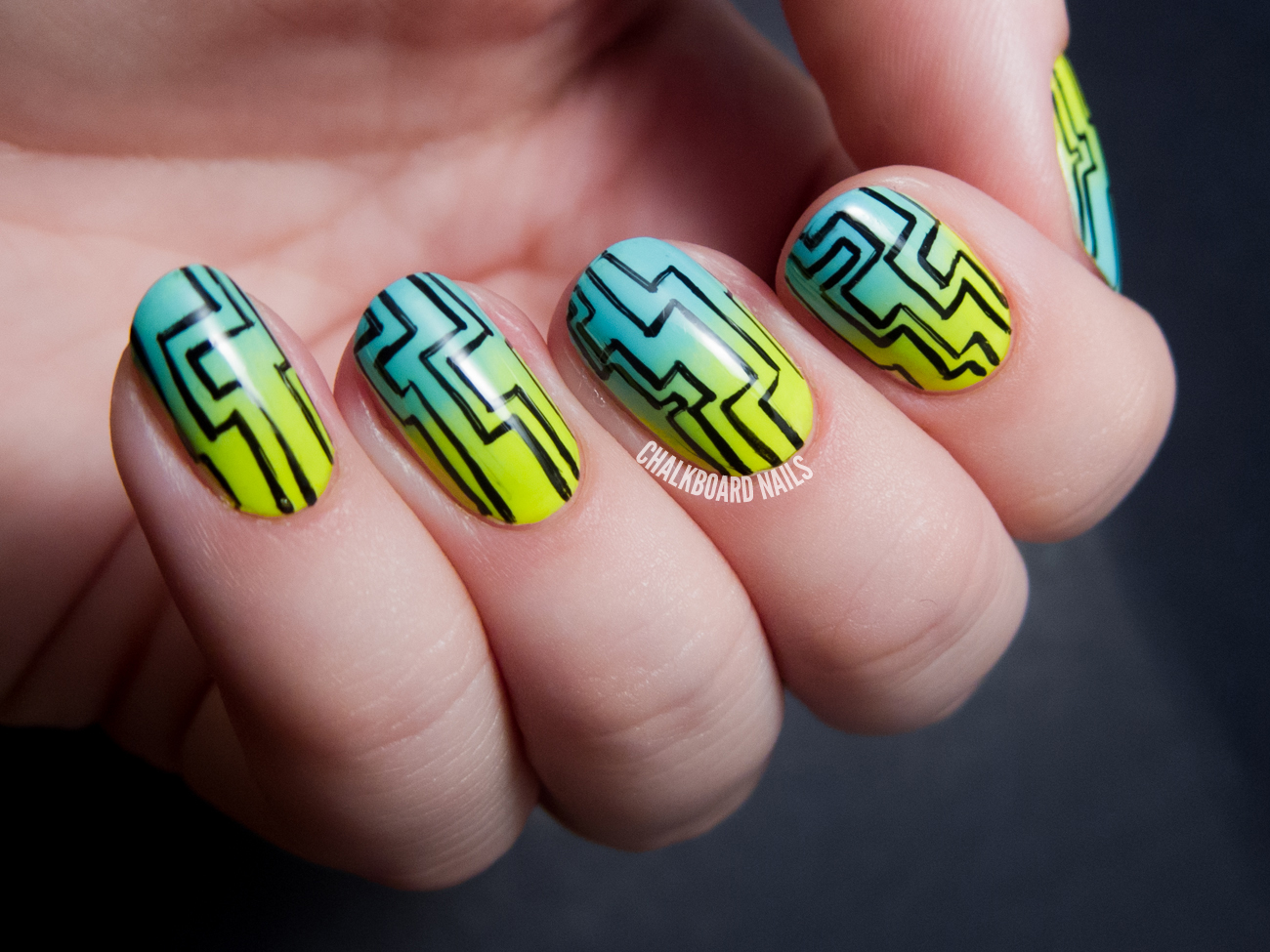 Lazy Maze And A Summer Gradient With Floss Gloss Chalkboard Nails