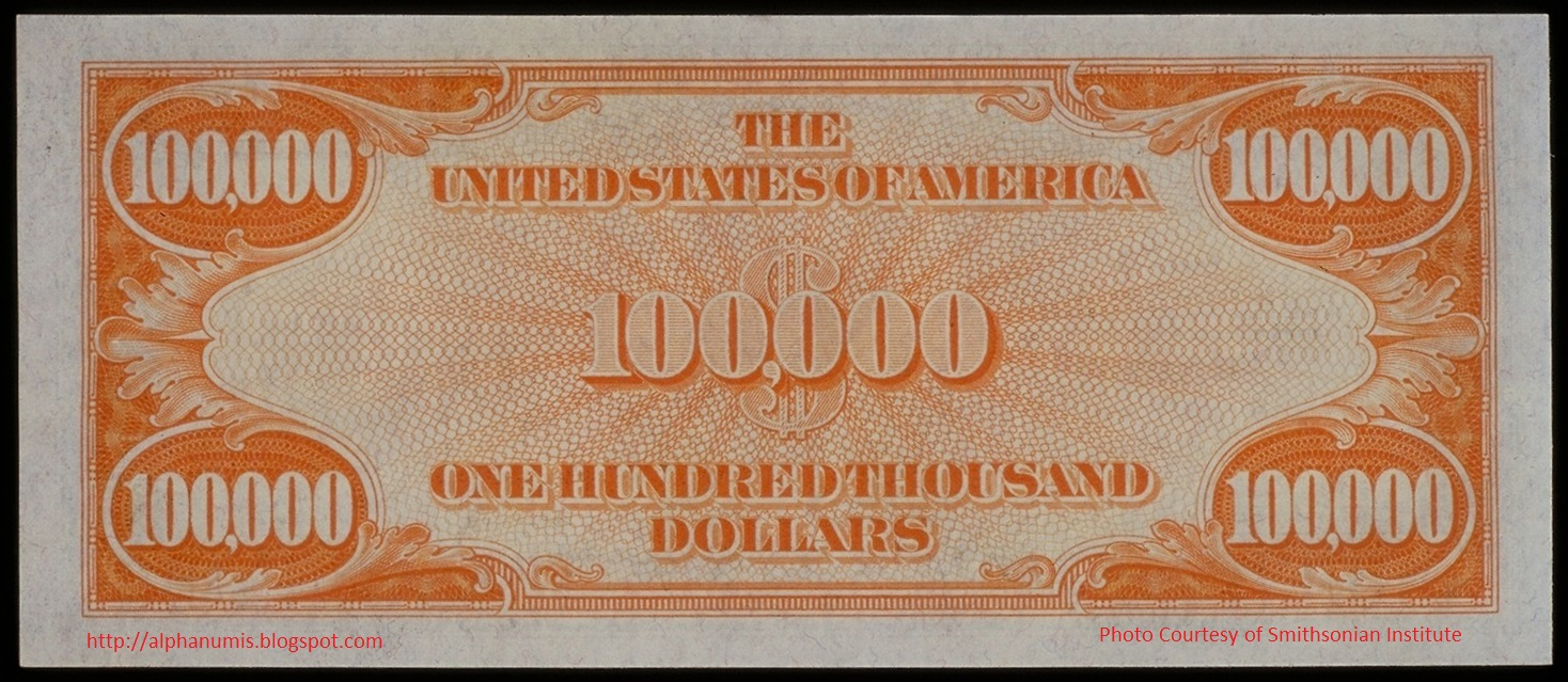 Numismatica banknote coin collecting illegal to own the 1934 fig 2 us 100000 gold certificate reverse xflitez Choice Image