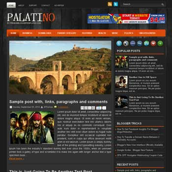 Palatino blog template. black color background blogger template. magazine style template blogspot. free blogspot template