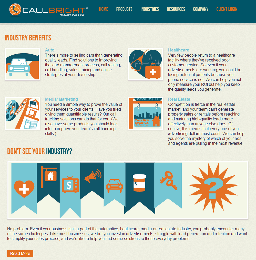 Industries page on the new Callbright website