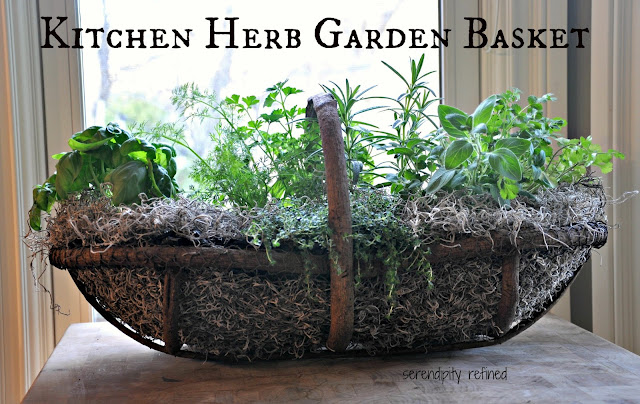 Repurposed container Chicken wire grape vine basket kitchen herb portable garden