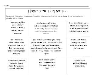 Reading homework tic tac toe