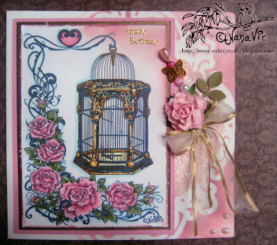 Digital Stamp Bird Cage Roses card