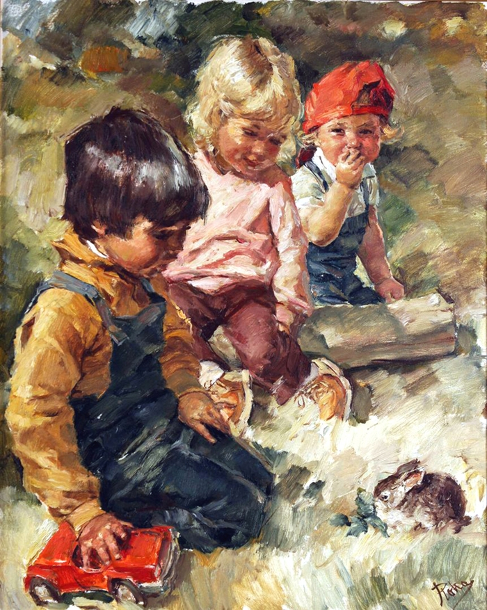 Hungarian artist charles roka childhood paintings for Paintings of toddlers