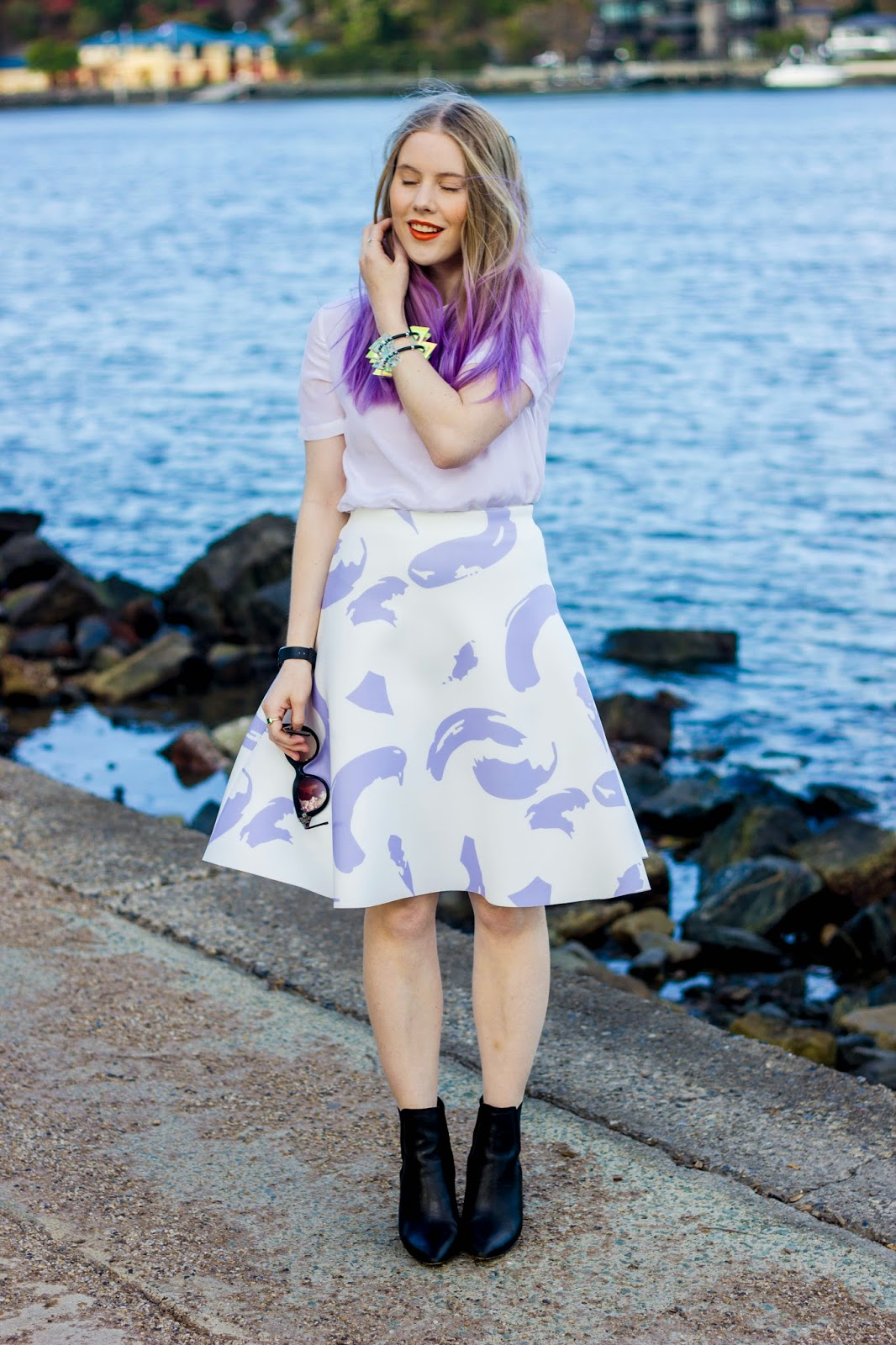 Pip O'Sullivan fashion blog, outsideiscolours, outside is colours blog, Pedestrian Blogster Awards, purple hair, dip dye, ombre hair, Ciara Clark, perspex jewellery, perspex spike bracelet, iridescent, Brisbane fashion blogger, Sheike, Celine paint strokes skirt, Sheike lilac paint strokes skirt, Glassons silk t-shirt, ASOS leather boots, black leather boots, sleek chunky black boots,