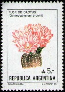 Sello que representa un cactus globoso (Gymocalycium bruchii), dibujo de Julio M. Fouret