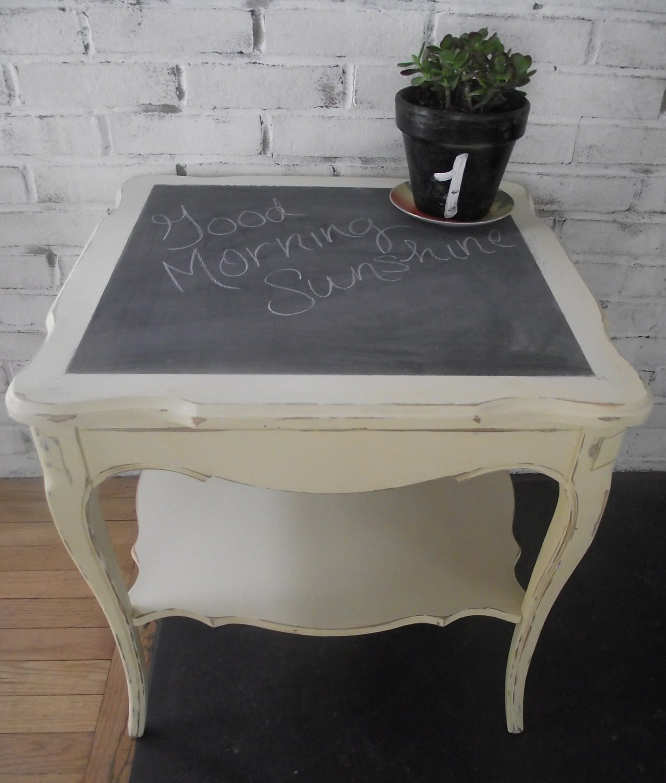 I Started By Painting The Piece A Simple Butter Cream Color. Once Dry, I  Painted The Top Insert With Chalkboard Paint. I Distressed The Piece And  VOILA!