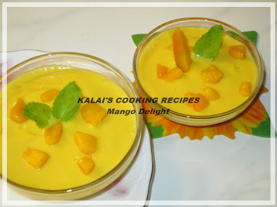 Mango Delight with Fresh Cream & Icing Sugar