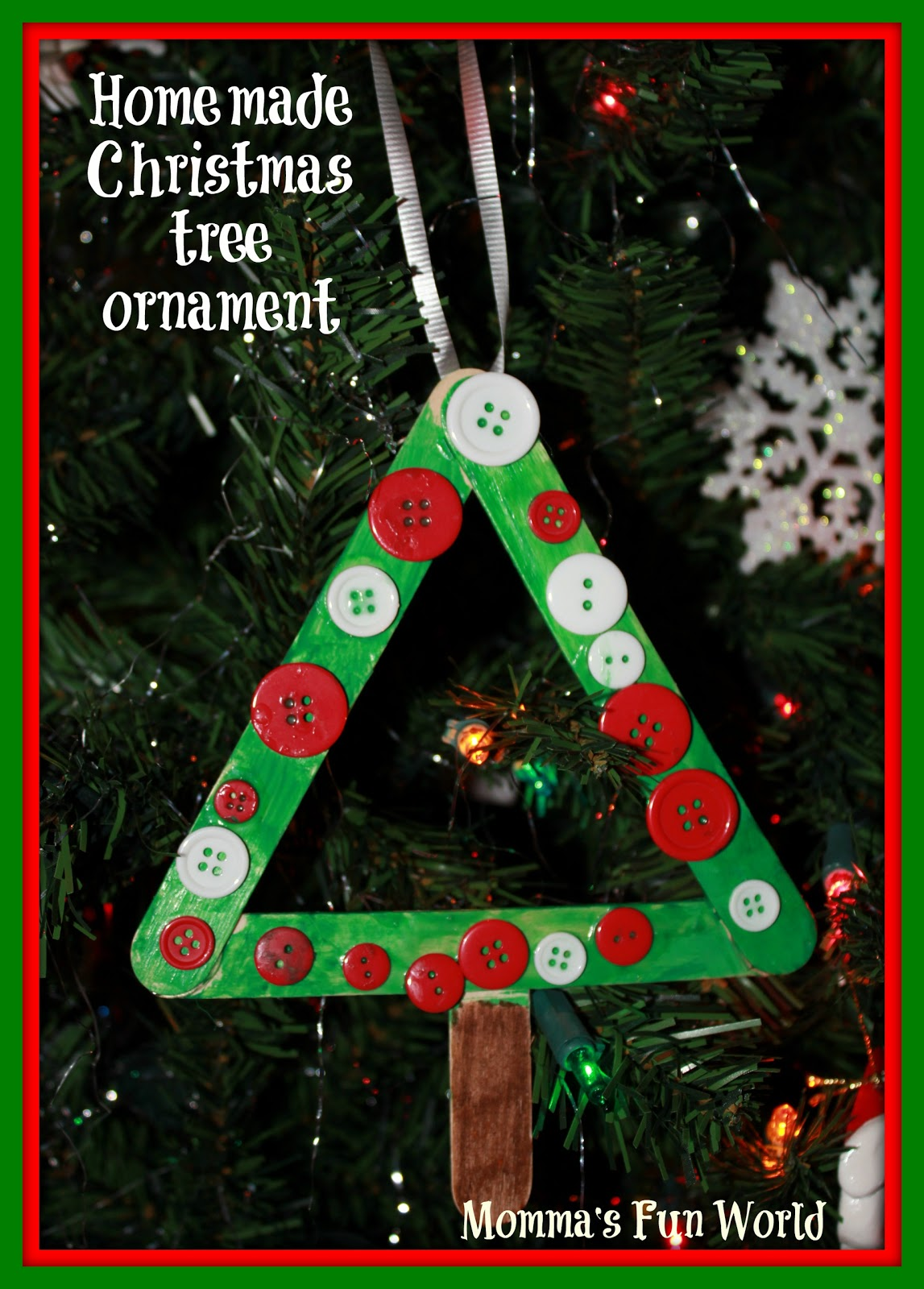 Momma\'s Fun World: Popscile stick Christmas tree ornament/frame