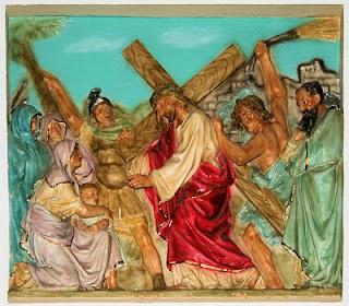Jesus bearing His cross - relief