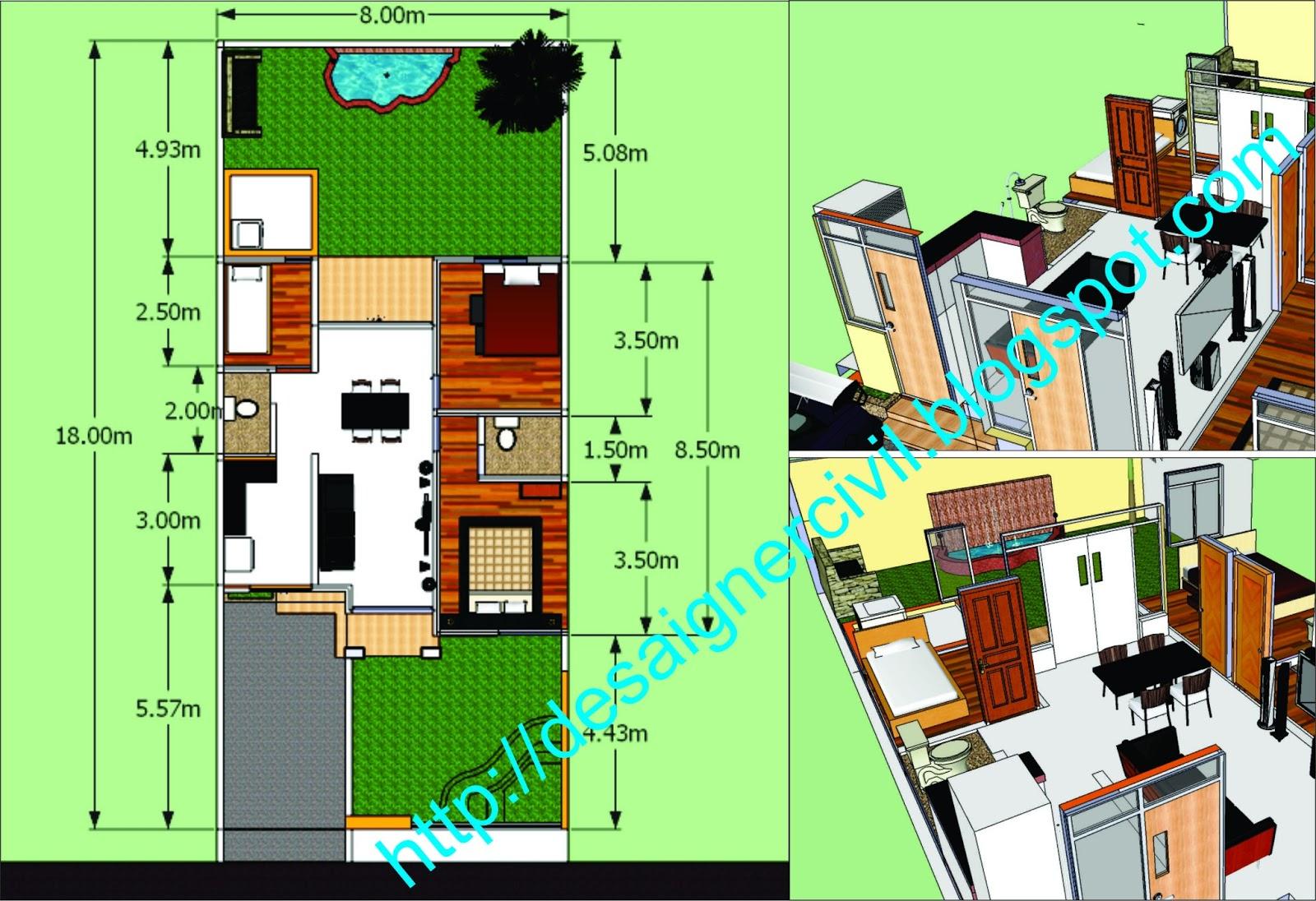 designer civil rumah tinggal type 65