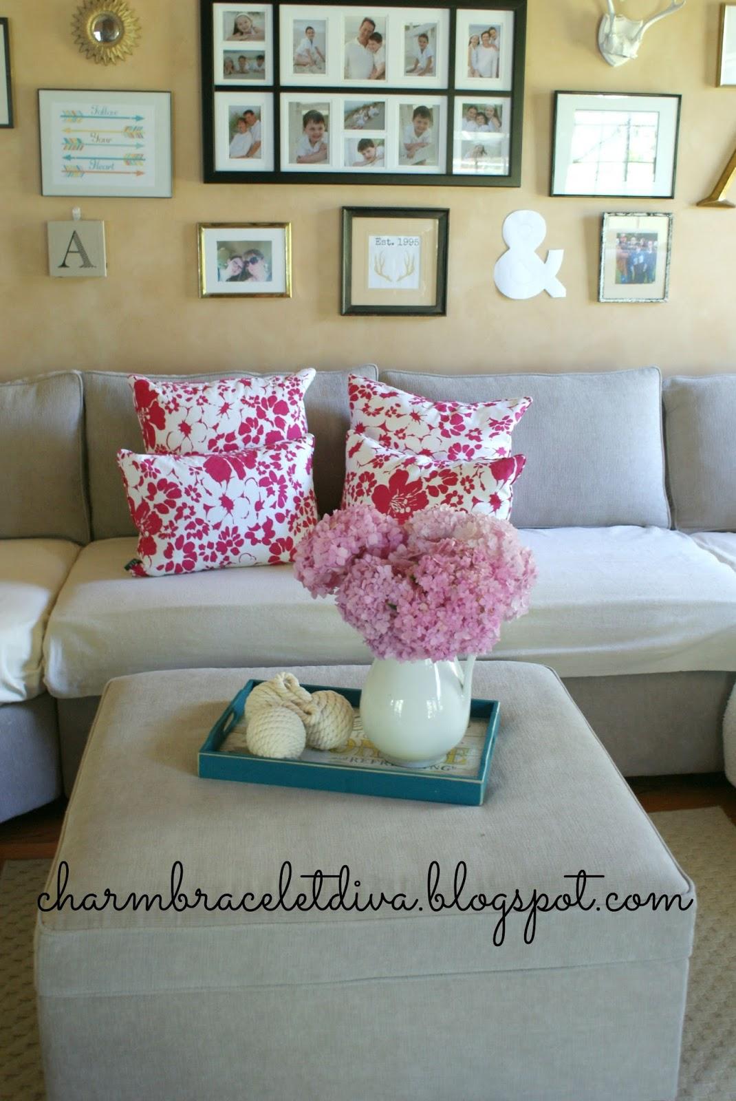 Ralph Lauren Fuschia Flowers Down Pillows Ottoman Tray Hydrangeas