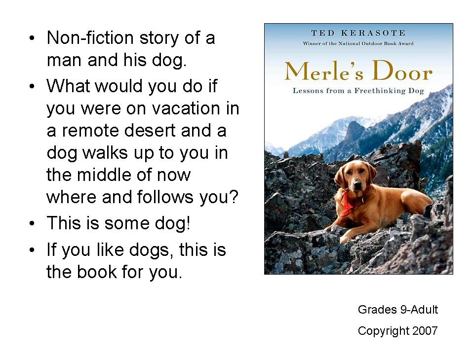 I got to hear this as an audiobook. Merle was a great dog and reminded me of the great dogs in my life. This the story of Merle and Ted ...  sc 1 st  Young Adult Reading Machine & Young Adult Reading Machine: March 2012