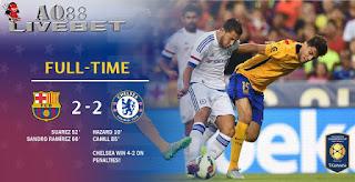 Liputan Bola - Chelsea sukses mengalahkan Barcelona pada laga lanjutan turnamen pramusim International Champions Cup. The Blues menang 4-2 lewat babak adu penalti setelah di waktu normal kedua tim bermain imbang 2-2.
