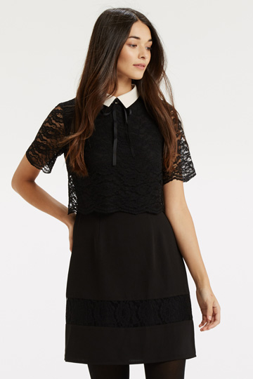 black lace layer white collar dress, black layer white collar tie dress,