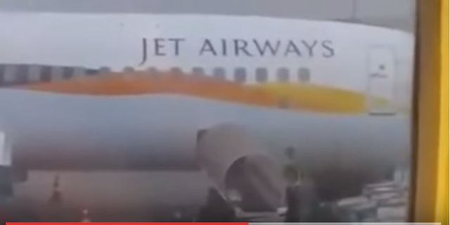 In the video uploaded on Thursday a baggage handler is carelessly throwing the passengers' suitcases into the cargo hold of a Jet Airways plane.