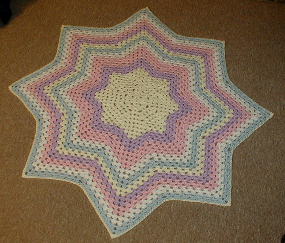 Karens Crocheted Garden of Colors: Granny Star Round Ripple Baby Blanket