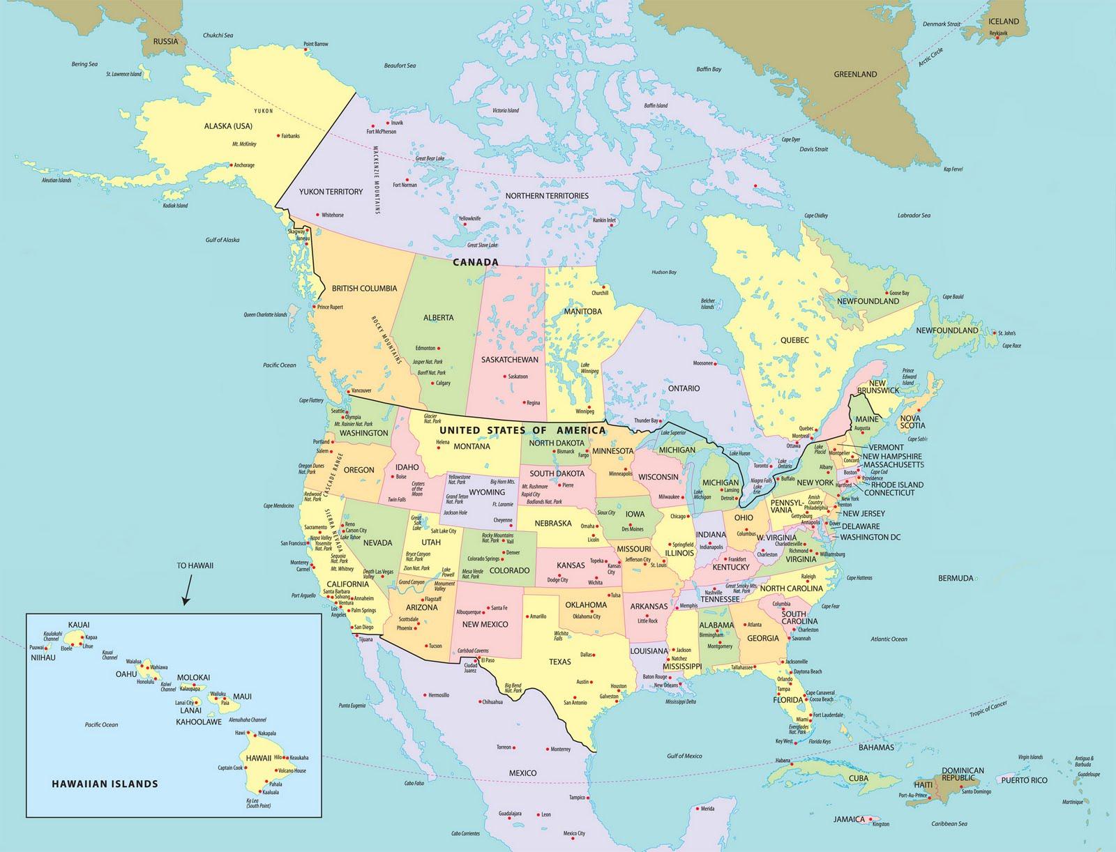 Αμερική - καναδάς: αρχείο χάρτη