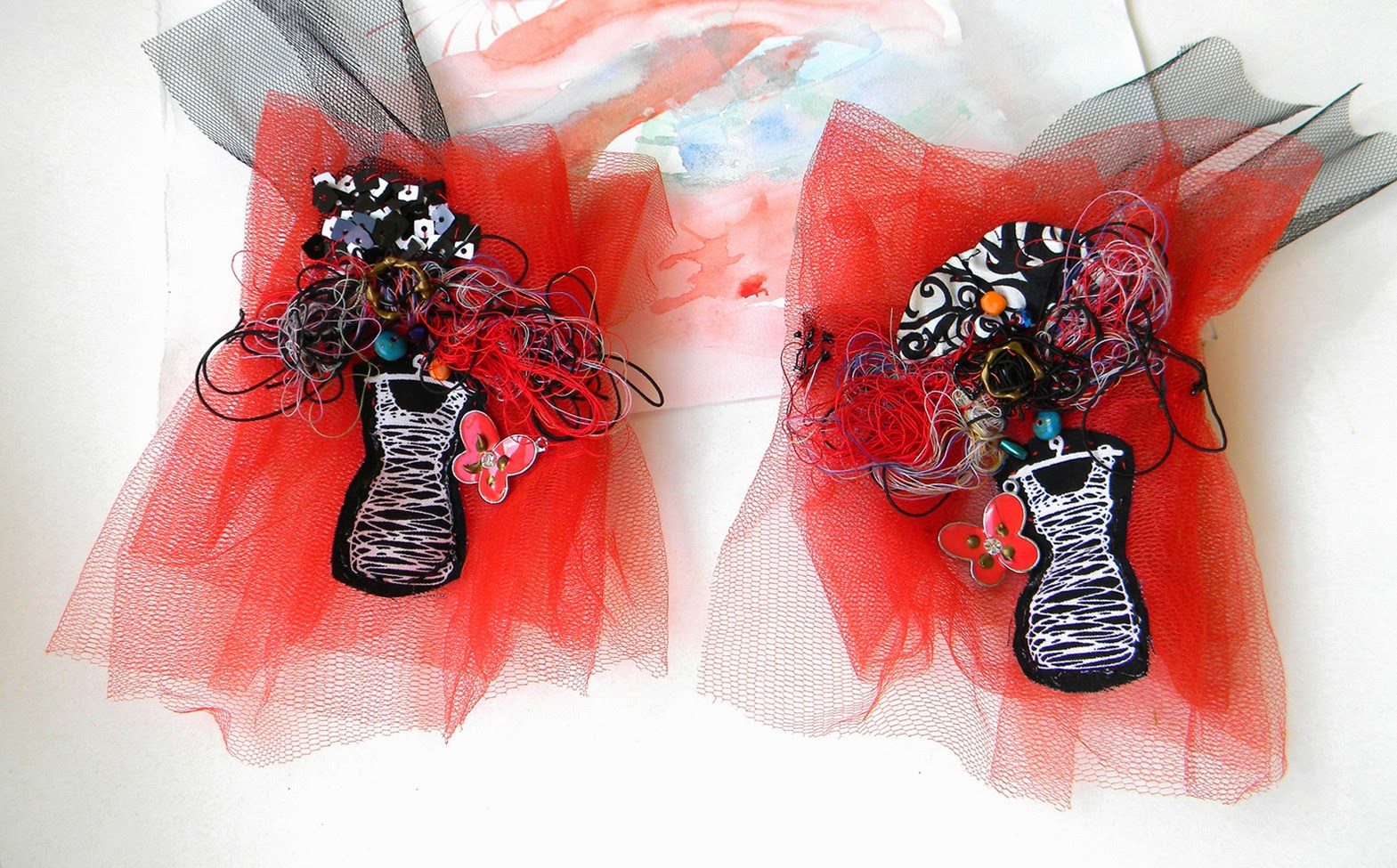 Tulle Wrist Cuffs, Textile Bracelets with Fiber Applique and Beads