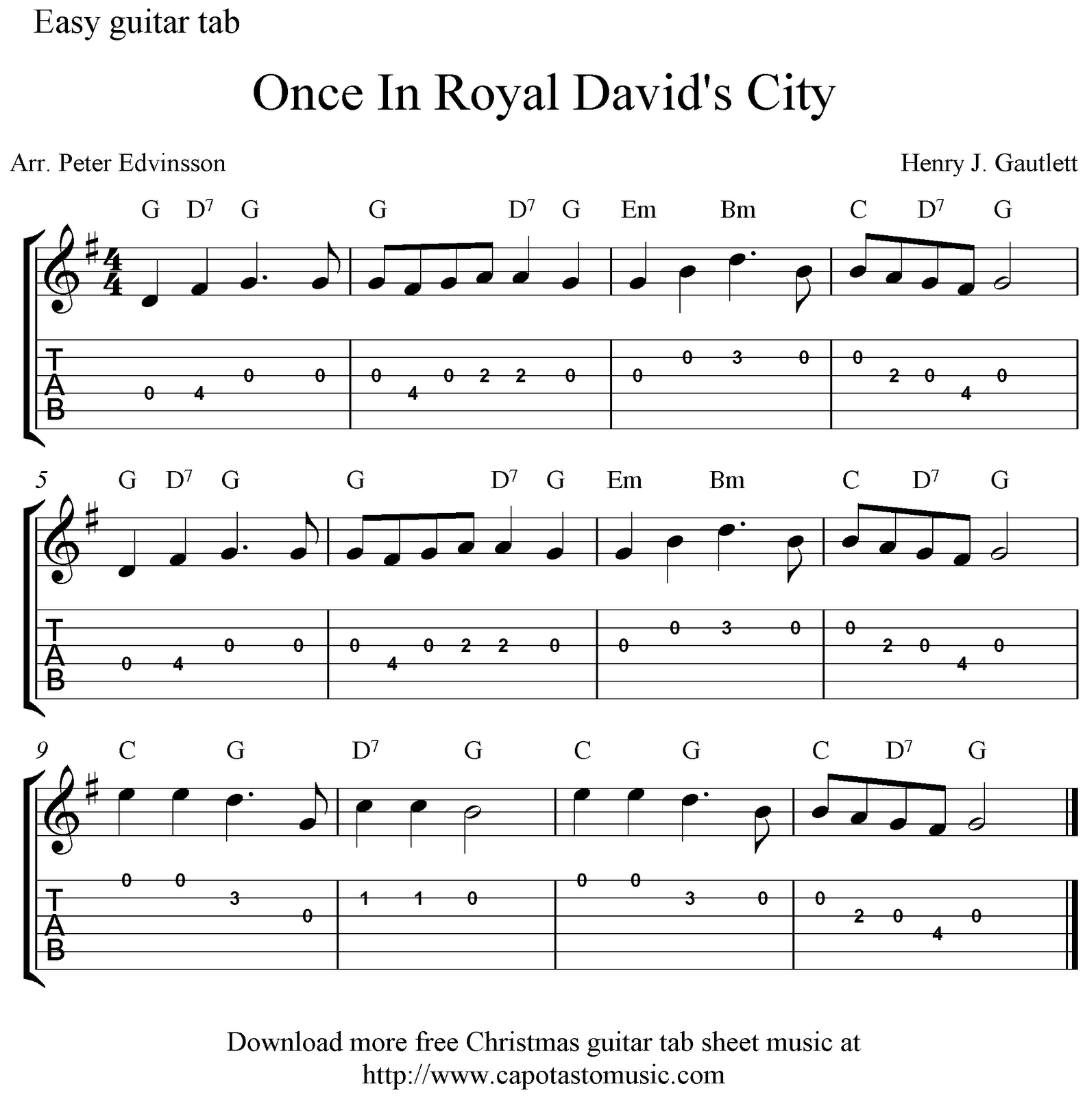 Free easy Christmas guitar tab sheet music, Once In Royal Davidu0026#39;s City