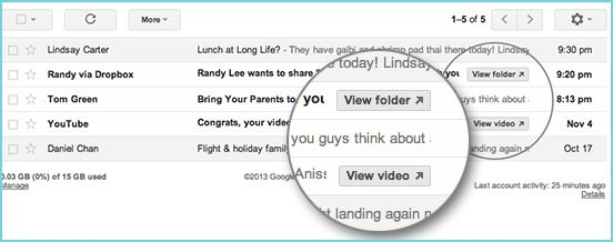 Gmail adds Quick Action buttons for Dropbox, Docs, YouTube and more