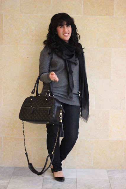 Sweater, Scarf, and Flats