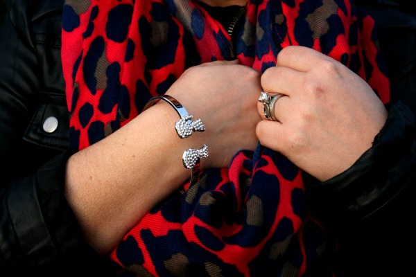 Boy Meets Girl Bangle Bracelet and South Moon Under Bright Leopard Print Infinity Loop Scarf