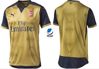 Arsenal Away 2016-2016 Tampak Depan dan Belakang