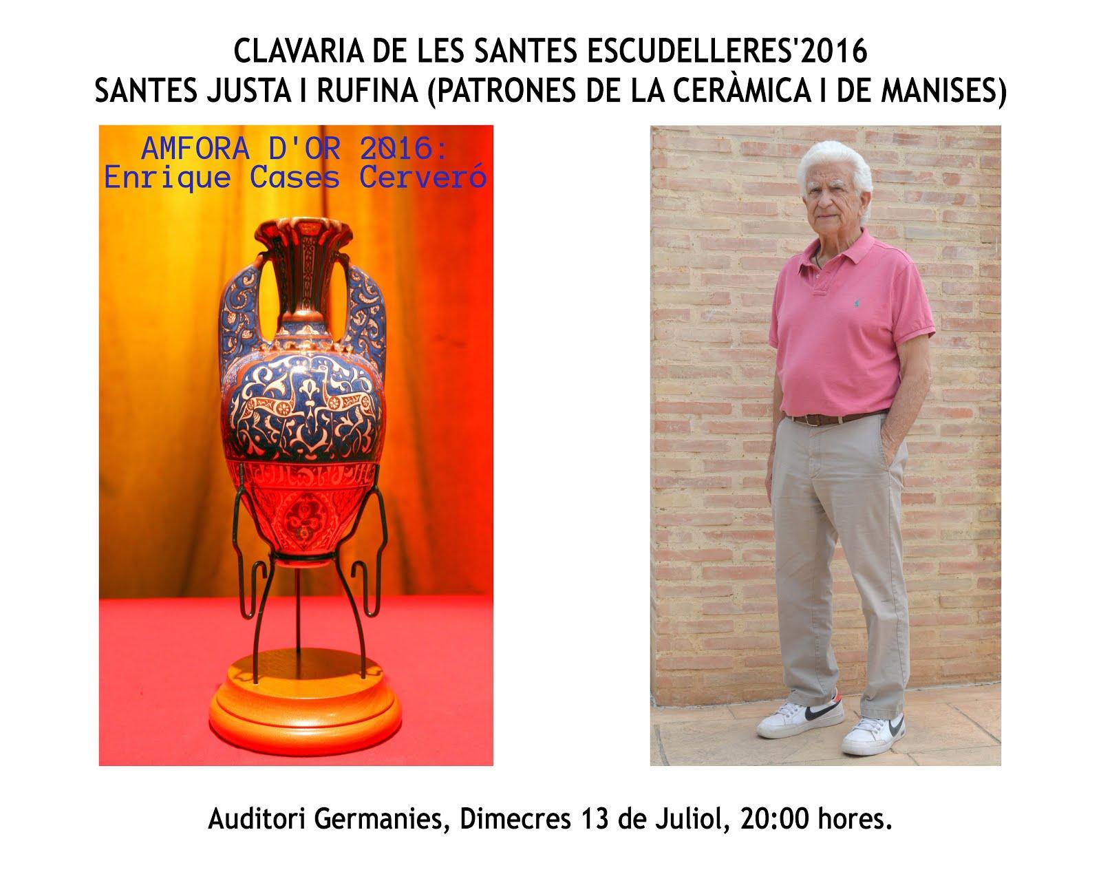 13.0717 LA CLAVARIA DE LAS SANTAS JUSTA Y RUFINA HACE ENTREGA DE L'AMFORA D'OR A ENRIQUE CASES.