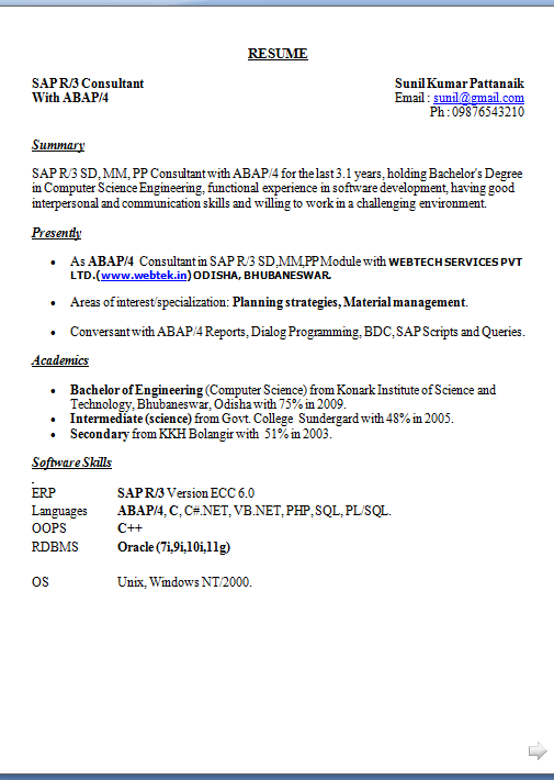 sample resume for sap abap 1 year of experience - template for resume word