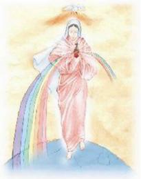 """Oração à Imaculada do Espírito Santo:   """"Imaculada do Espírito Santo,  pelo poder que o Eterno Pai te deu,  sobre os anjos e arcanjos,  enviai fileira de anjos  com o chefe São Miguel Arcanjo,  para livrar-nos do maligno,  e curar-nos. Amém."""""""