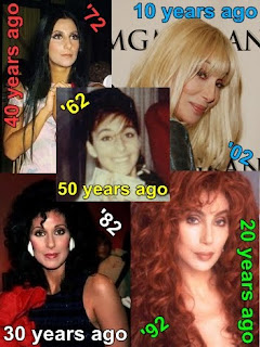 Cher in 1962; 1972; 1982; 1992; and 2002