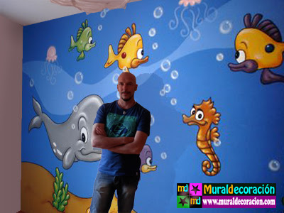 mural dormitorio acuario infantil