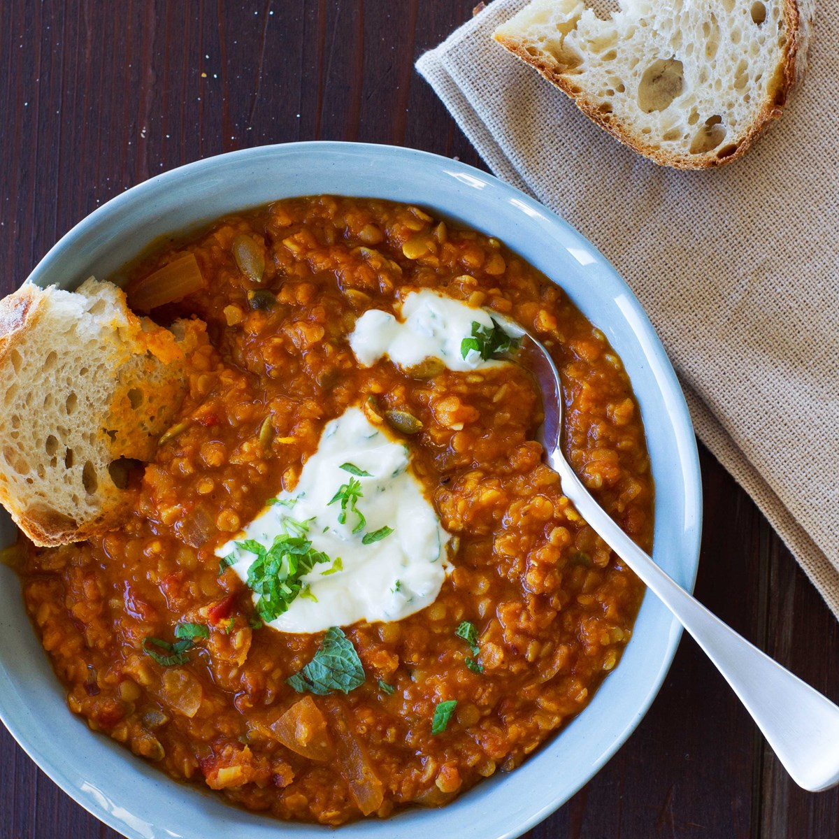 Hot Bowl Of Spicy Lentil Soup With Buttered Bread Recipe ...