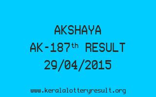 Akshaya AK 187 Lottery Result 29-4-2015