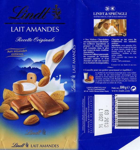 tablette de chocolat lait gourmand lindt recette originale lait amandes