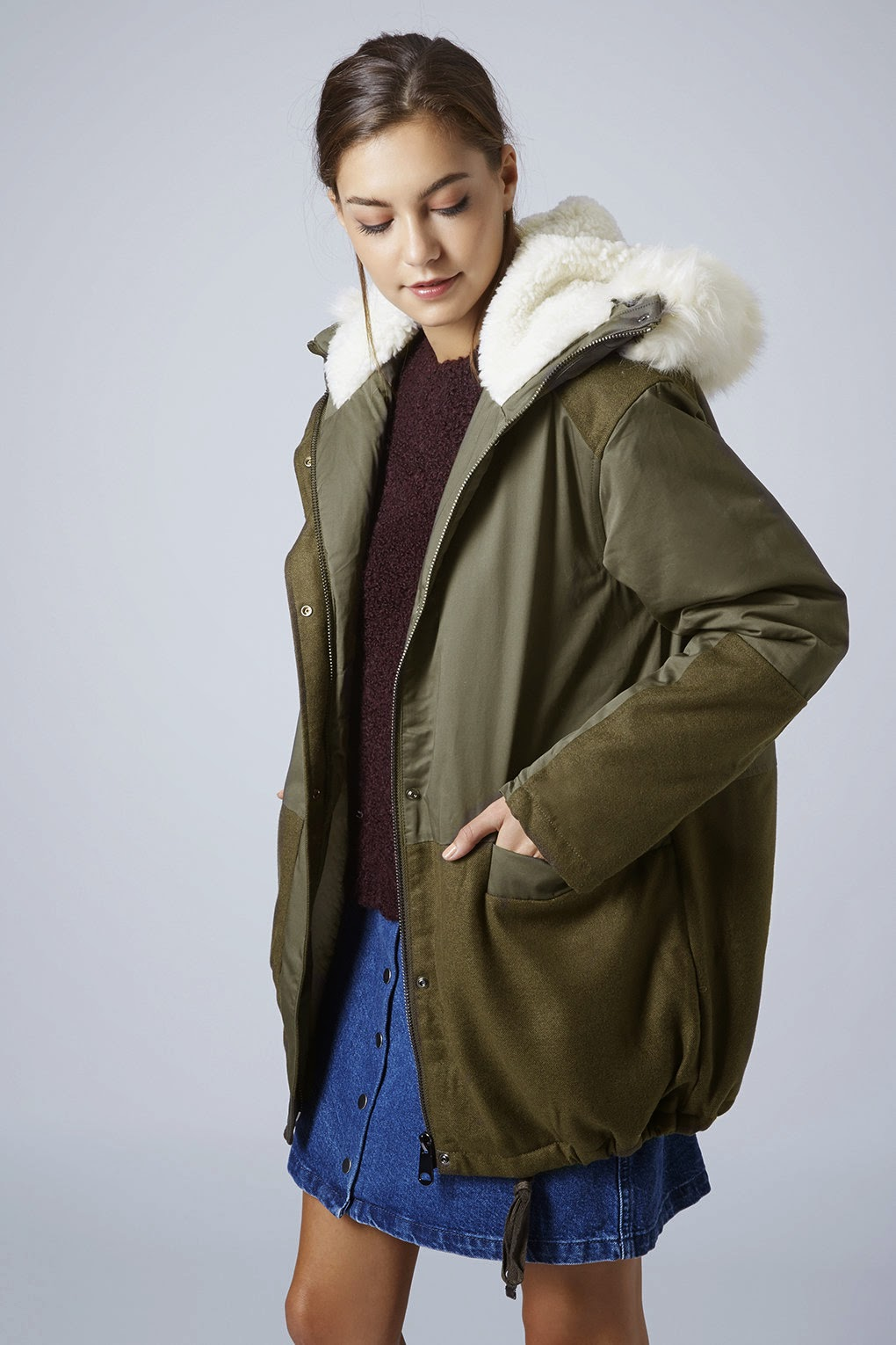 khaki winter coat with fur hood