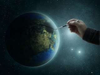 Someone drawing a painting of the Earth