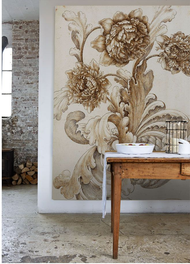 Simple details smitten with mural wallpaper for Large print wallpaper