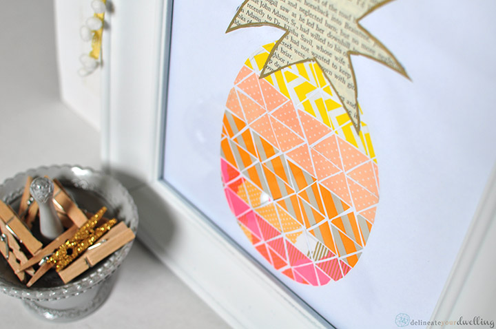 Pineapple Washi tape print, Delineate Your Dwelling ‪#‎pineapple‬ ‪#‎washitape‬ ‪#‎wall‬ decor ‪#‎neon‬