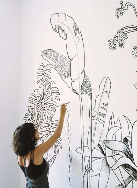 Line Art Mural : Make them wonder what my husband likes in the bedroom