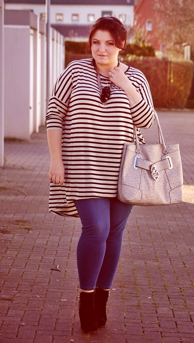 Striped Plus Size Sweater and Jeans