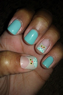 Mint green, owl, nail art, mani